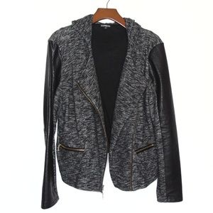 Express Faux Leather Sleeve Hoodie Moto Jacket